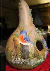 Painted, Woodburned and Carved Gourds - Welcome to my Website.a place to enjoy the Art of Carole Sheftic. Hand Painted Gourds, Decorative Gourds, Painted Pumpkins, Christmas Paintings, Christmas Art, Bird Fountain, Gourds Birdhouse, Bird Houses Painted, Cardboard Art