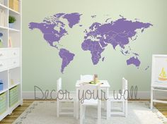 Hey, I found this really awesome Etsy listing at https://www.etsy.com/listing/225035921/world-map-decal-separated-countries-wall