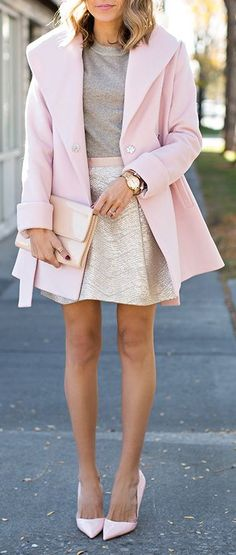 Beige skirt with gray top and light pink jacket