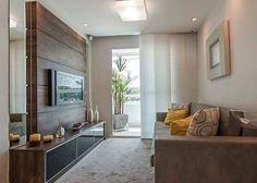 Modern rooms: see more than 40 inspiring room ideas Sala Grande, Small Room Decor, Small Rooms, Lounge Decor, Living Room Tv, Minimalist Living, Modern Room, Apartment Design, Bars For Home