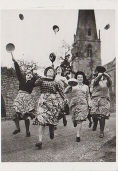 Pancake race on Shrove Tuesday. How did I live this long without knowing this tradition??