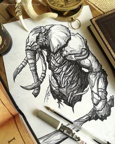 regram @dibujantenocturno Elephant Warrior  Print: Link in my BIO  . #artoftheday #artwork #instaart #instadraw #fantasyart #arte #art #artetradicional #traditionalart #boligrafo #dibujantenocturno #elephanttattoo #illustrations #illustration #ilustracion #conceptart #deviantart #demon #draw #drawing #dibujar #dibujo #boceto #sketchbook #sketches #sketch #warrior #dark #elephants #elephant