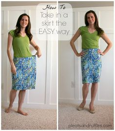 Pleats and Ruffles: How To: Take in a skirt the EASY way