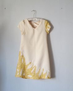 vintage dress /  hand made / creme  / yellow by StudioNostalgia, $34.99