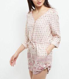 Cream Tile Print Shirt Playsuit    New Look
