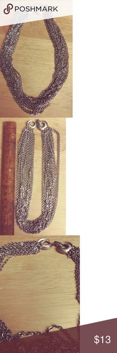 Vintage Chain Choker Silver metal Jewelry Necklaces
