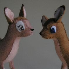 DIY Stuffed Felt Toy Bambi Fawn - FREE Sewing Pattern and Tutorial.   Not necessary to give it the big-eyed look. I've made three with small beads for eyes.