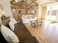 Open plan converted cottage - would want exposed beams like this Open Space Living, Living Spaces, Living Room, South Hall, Cozy House, Open Plan, Home Kitchens, Beautiful Homes, Beach House