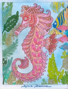 Auteur: Sylvie Dailliez - Revue: Coloriage Évasion n°11 - Éditions MEGASTAR® France. Seahorses, Rooster, Waves, France, Artwork, Coloring Pages, Animaux, Work Of Art, Ocean Waves