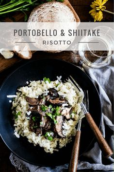 Portobello & Shiitake Risotto - A creamy and satisfying rice dish topped with portobello and shiitake mushrooms sautéed with garlic, butter, and balsamic vinegar. A luxurious risotto that is perfect for dinner and any special occasion. | passmesometasty.com