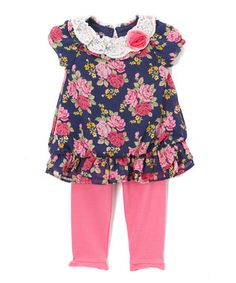 Navy & Pink Floral Tunic & Pink Leggings - Infant & Toddler