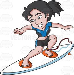 A woman enjoying a good surf #cartoon #clipart #vector #vectortoons #stockimage #stockart #art