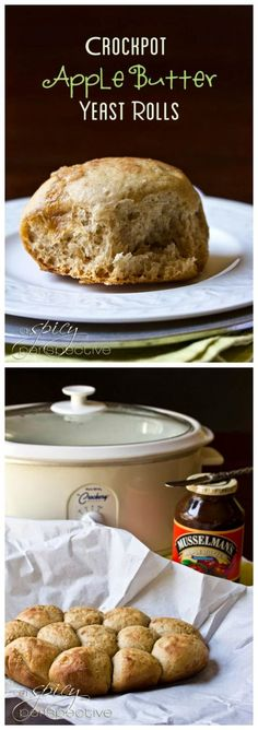When it's too hot to turn on the oven, use the slow cooker to make these delicious-sounding CrockPot Apple Butter Yeast Rolls from A Spicy Perspective! [featured on SlowCookerFromScr. Vegan Crockpot Recipes, Crockpot Meals, Vegetarian Recipes, Slow Cooker Desserts, Slow Cooker Recipes, Apple Butter Uses, Slow Cooker Casserole, Yeast Rolls, Crock Pot Cooking