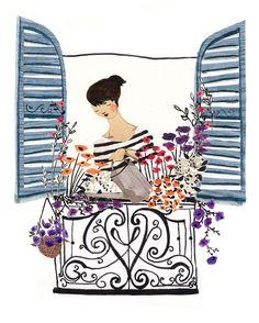 Frau am Fenster A4-Kunstdruck von emmablock auf Etsy