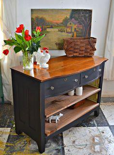 Heir and Space An Antique Oak Dresser Turned Media Console - Dresser - Ideas of Dresser Dresser To Buffet, Oak Dresser, Dresser Refinish, Dresser Ideas, Furniture Projects, Furniture Makeover, Diy Furniture, Furniture Repair, Furniture Refinishing