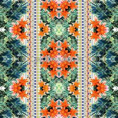 Tropical Leaves and Flowers With Ethnic,tribal Border