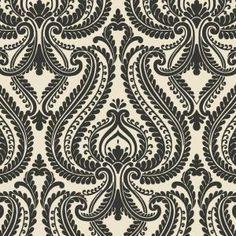 Beacon House Imperial Black Modern Damask Wallpaper Sample 2535-20625SAM at The Home Depot - Mobile