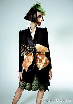 It is the work which arranged a Japanese culture kimono. Fancy Hairstyles, Creative Hairstyles, Quirky Fashion, High Fashion, Kimono Design, Kimono Dress, Margiela, Fashion Images, Kimono Fashion