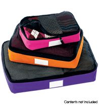 "Personalized Packing Cubes. Cubes have mesh panels on top and come with personalizable cards to help identify contents quickly. Set of three: Small, 11"" L x 6 3/4"" W x 3"" H; Medium, 13 3/4"" L x 9 3/4"" W x 3"" H; Large, 17 1/2"" L x 12 3/4"" W x 3 1/4"" H. Nylon/mesh. Imported."