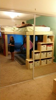 Full size L-shaped loft beds with storage steps