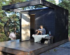 "One+ modular housing system lets you ""add a room"" or sauna. By Add a Room. Outdoor Sauna, Outdoor Decor, Sauna House, Add A Room, Pergola, Modular Housing, Small Buildings, Contemporary Garden, Tiny House"