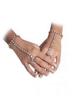 White Kundan Studded Bracelet with Ring