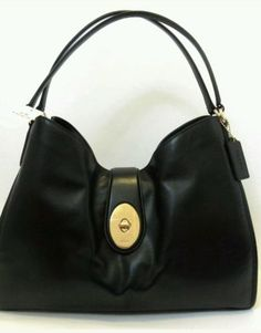 COACH CARLYLE SMOOTH LEATHER SHOULDER BAG BLACK GOLD TOTE NWT, $225.00