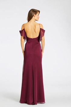 Merlot luminescent chiffon A-line bridesmaid gown, draped V-neckline, off the shoulder flouncy sleeves. Style 5527
