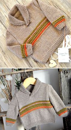 Free until Oct 2019 Knitting Pattern for Rustic Baby and Toddler Sweater Free until Oct 2019 Knitting Pattern for Rustic Baby and Toddler Sweater - This baby and toddler shawl-collared pull. Baby Boy Knitting Patterns Free, Baby Sweater Knitting Pattern, Baby Dress Patterns, Baby Clothes Patterns, Knitting For Kids, Knit Patterns, Free Knitting, Pull Bebe, Toddler Sweater