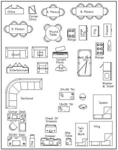 Best Photos of Printable 1 4 Inch Scale Bedroom Furniture - Floor Plan Furniture Symbols, 1 4 Furniture Templates and Free 1 4 Furniture Templates Diy Furniture Plans, Furniture Layout, Architecture Symbols, Architecture Drawings, Revit, Interior Design Classes, Plan Drawing, Furniture Placement, House Floor Plans