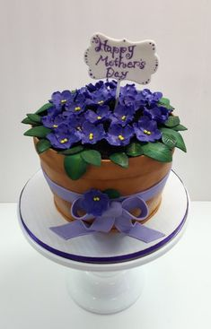 Custom flower pot fondant cake