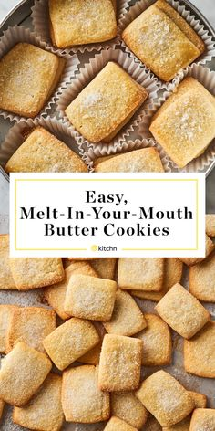 How to Make Easy, Melt-in-Your-Mouth Butter Cookies Just like the cookies from the classic blue tin, these butter cookies are just sweet enough with a crisp, snappy bite and a sandy texture. Wie Macht Man, Tasty, Yummy Food, Peanut Butter Cookies, Melt In Your Mouth Butter Cookies Recipe, Easy Butter Cookies, Short Bread Cookies, Best Butter Cookie Recipe, Best Shortbread Cookies