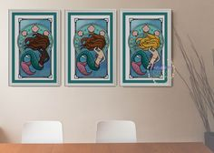 Art Nouveau, Mermaid Cross Stitch, Cross Stitch Patterns, Gallery Wall, Tapestry, Embroidery, Etsy, Unique Jewelry, Handmade Gifts