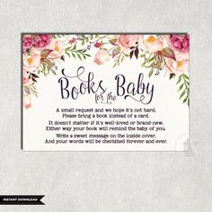 FLORAL Books For Baby Insert Card Flower Baby Shower Invitation Insert  Please Bring A Book Instead