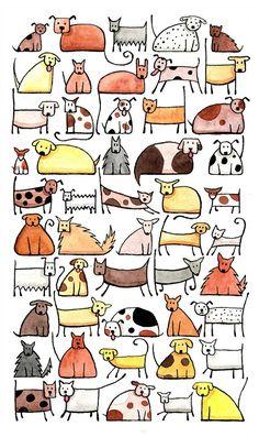 50 cani stampa d'arte di dimensioni extra-large A3