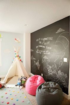 Create a chalk wall for endless design ideas that you can change out regularly.
