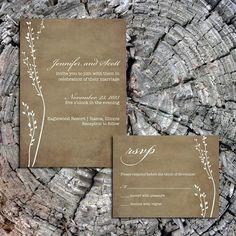 Rustic Wedding Invitation & RSVP Card by CharmingTreeDesign, $30.00