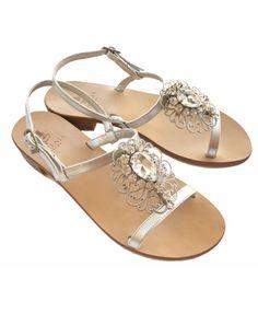 Sandali da Sposa personalizzabili - Sandalo gioiello in pelle argento - Capri Style