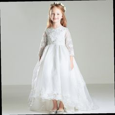 b52a05259 Flower Girls Dresses For Wedding Gown Lace Prom Dress Children Long Holy  Communion Dresses Sleeve Mother Daughter Dresses