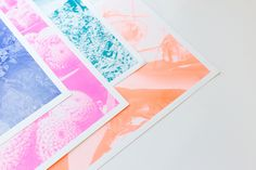 Risograph prints - choose from bold and vibrant teal, blue, neon pink, and neon orange inks!