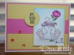 Bellarific Friday with Stamping Bella - rubber stamp uised: the BUNNY WOBBLE and the PEONY card by Dana White
