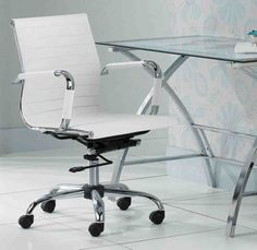 ripple ivory leather office chair in office chairs | crate and