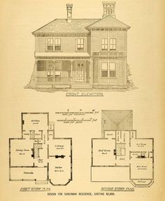1878 Print House Architectural Design Floor Plans Victorian Architecture MAB1