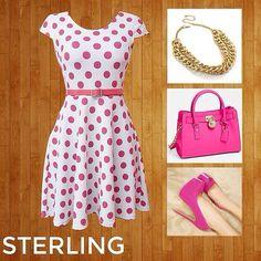 Luce Espectacular con el Look del día, lo puedes comprar en www.sterlinggeneration.com #lookdeldia #outfit #outfitoftheday #lookoftheday #vestido #vestidocorto #dresses #pink #rosa #dots #lunares