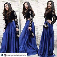 Black Cropped Jacket- Embroidered Velvet Jacket with Blue Silk Skirt