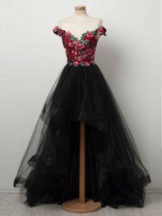 2f36e9366ec Black Prom Dress Off-the-shoulder Applique Floral Long Prom Dresses Modest  Long Evening Dress AMY1003