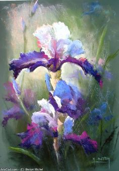 23 Ideas Flowers Blue Art Irises For 2019 Soft Pastel Art, Pastel Flowers, Iris Painting, Watercolor Paintings, Blue Drawings, Art Drawings, Art Floral, Peony Drawing, Drawing Flowers