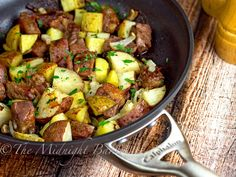 One-Skillet Roasted Steak & Potatoes | bakeatmidnite | my husband loves steak, but I don't know how to cook it! So, this fool-proof recipe sounds easy and delish!