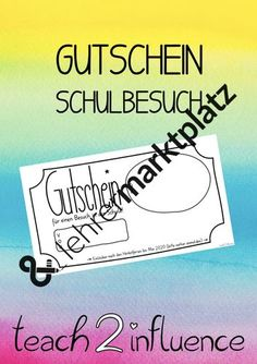 Gutschein Schulbesuch Signs, Author, Decomposing Numbers, School Attendance, Page Template, Play Based Learning, 2nd Grades, Pictorial Maps, Teaching Materials