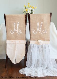 Wedding Chair Covers Rustic Country Formal Wedding Chair Covers Chiavari Chair Cover Mr & Mrs Chair Set of 2 by BarnHillWeddingDecor on Etsy Folding Chair Covers, Chair Back Covers, Chair Backs, Wedding Reception Tables, Wedding Chairs, Formal Wedding, Rustic Wedding, Wedding Ideas, Wedding Chair Decorations